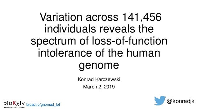 Variation across 141,456 individuals reveals the spectrum of loss-of-function intolerance of the human genome Konrad Karcz...