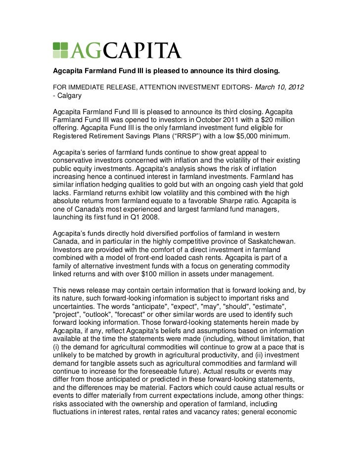 Agcapita Farmland Fund III is pleased to announce its third closing.FOR IMMEDIATE RELEASE, ATTENTION INVESTMENT EDITORS- M...