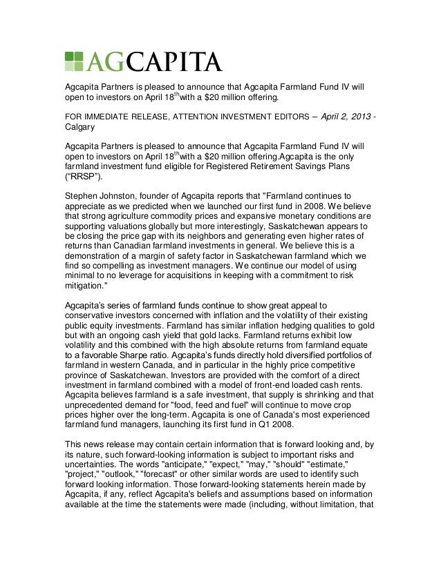 Agcapita Partners is pleased to announce that Agcapita Farmland Fund IV willopen to investors on April 18thwith a $20 mill...
