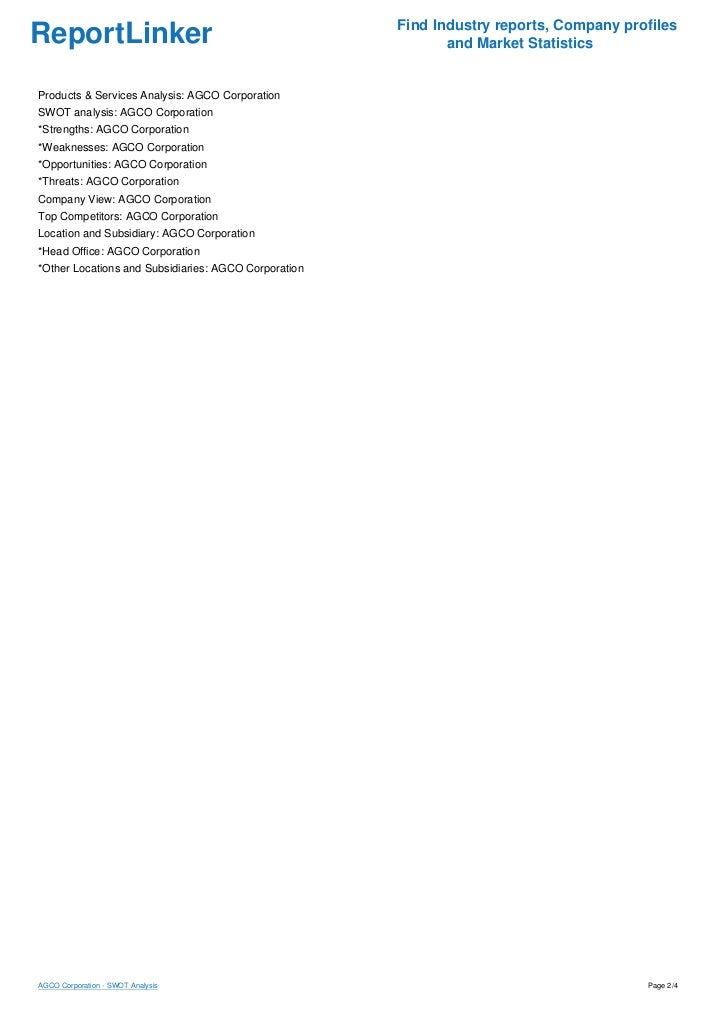 AGCO Corporation - SWOT Analysis