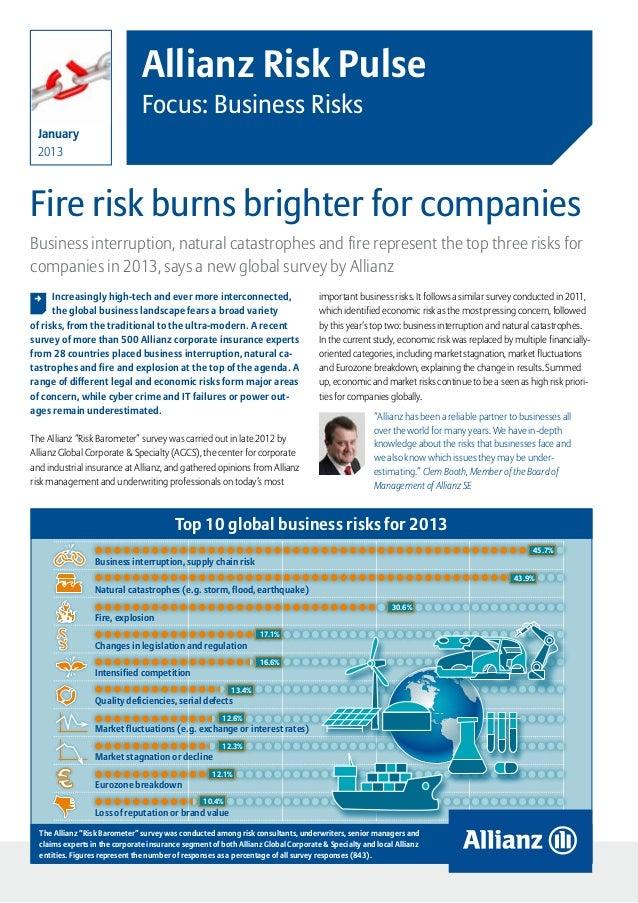 Allianz Risk Pulse                                Focus: Business Risks  January  2013Fire risk burns brighter for compani...