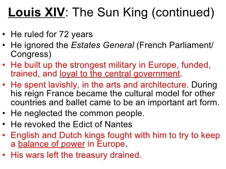 an overview of the absolutism in france during the reign of louis xiv Describe the importance of france during the reign of louis xiv what is absolutism what statement expressed louis xiv's belief in absolutism.