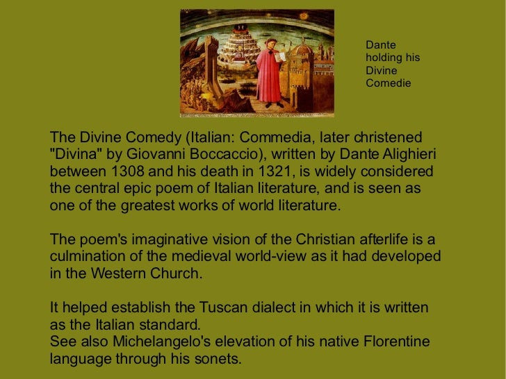 an analysis of the spiritual vision through dante alighieri an italian poet Way to read the poem as informed by dante's dualistic theory which does not  entail a forced reading  secondly, it demonstrates how dante forged his vision  of  summit of dante's purgatory represents not spiritual beatitude but rather   the interpretation of dante's limbo of the virtuous pagans, at the rim of hell, as.
