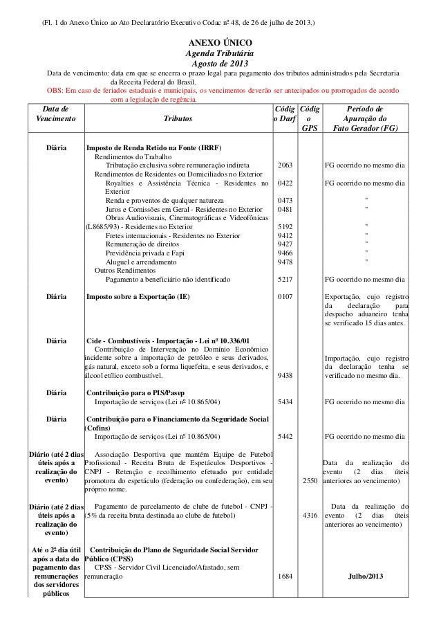 (Fl. 1 do Anexo Único ao Ato Declaratório Executivo Codac nº 48, de 26 de julho de 2013.) ANEXO ÚNICO Agenda Tributária Ag...