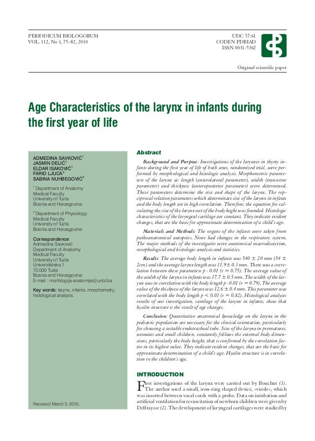 Age characteristics of the larynx in infants during the first year of…