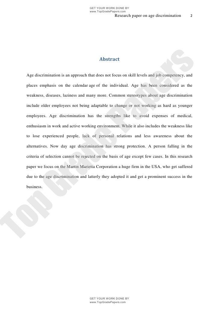 Age discrimination academic essay assignment - www.topgradepapers.c…
