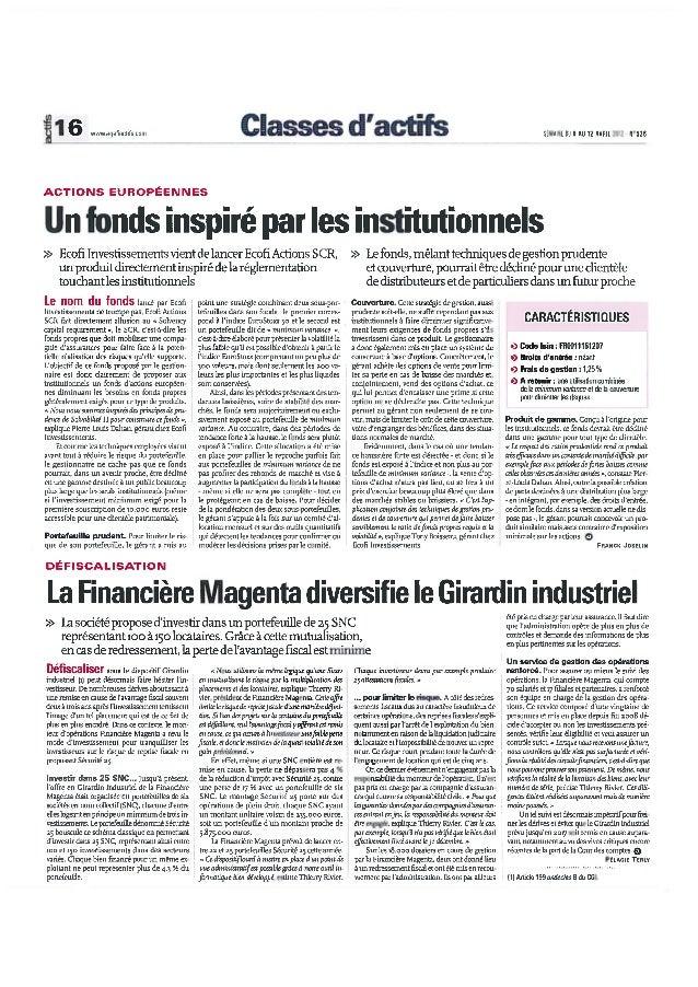 Article de Thierry Rivier dans les Agefi
