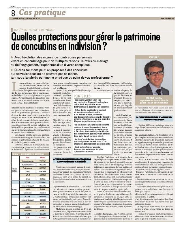 Cas pratique  actifs  semaine du 21 au 27 octobre 2011 - n°513  www.agefiactifs.com  Quelles protections pour gérer le pat...