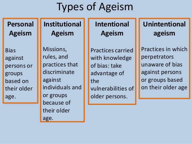 ageism and the elderly Ageism and the elderly ageism and the elderly the correlation between ageism and elder abuse ashley july 17, 2010 university of phoenix axia college the.