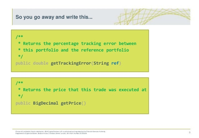 /** * Returns the percentage tracking error between * this portfolio and the reference portfolio */ public double getTrack...