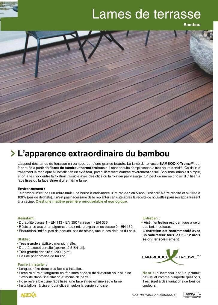 BambouL'apparence extraordinaire du bambouL'aspect des lames de terrasse en bambou est d'une grande beauté. La lame de ter...