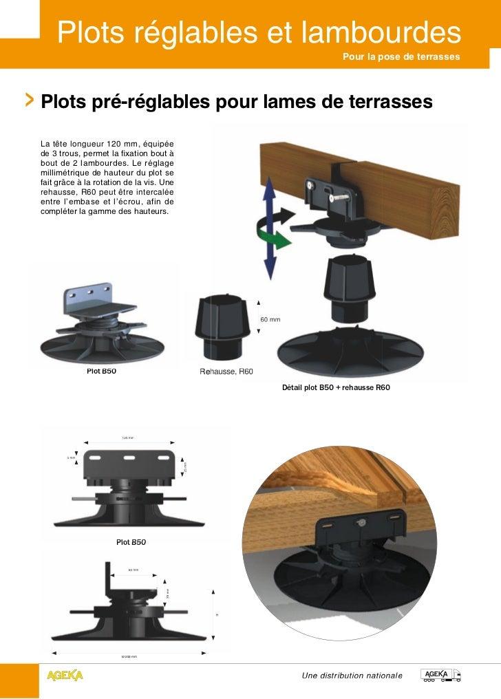 Pour la pose de terrassesPlots pré-réglables pour lames de terrassesLa tête longueur 120 mm, équipéede 3 trous, permet la ...