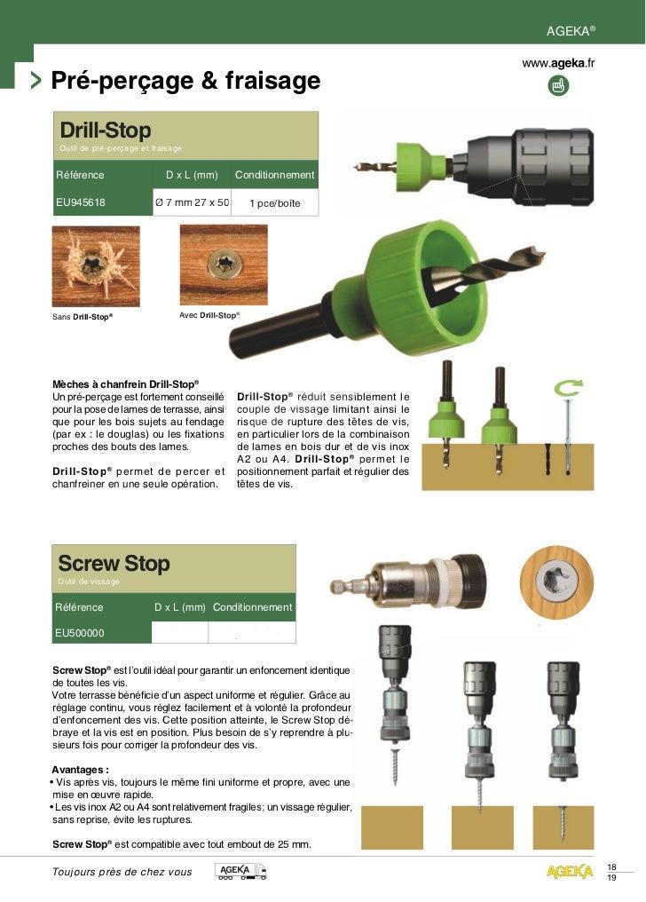 AGEKA®Pré-perçage & fraisage  Drill-Stop  Outil de pré-perçage et fraisage Référence                   D x L (mm)        C...