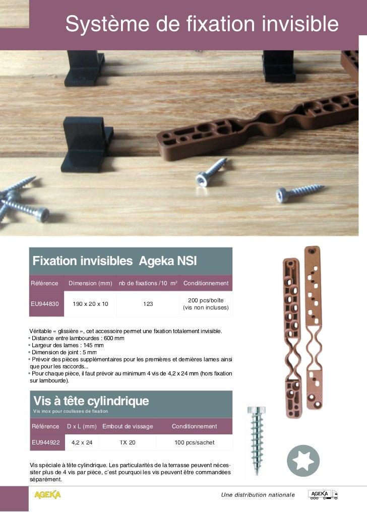 Fixation invisibles Ageka NSI Référence        Dimension (mm)        nb de fixations /10 m2   Conditionnement             ...