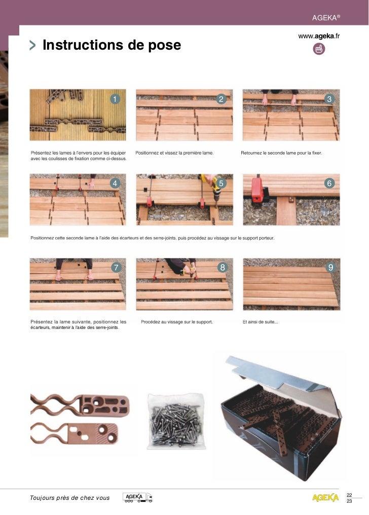 AGEKA®      Instructions de posePrésentez les lames à l'envers pour les équiper     Positionnez et vissez la première lame...