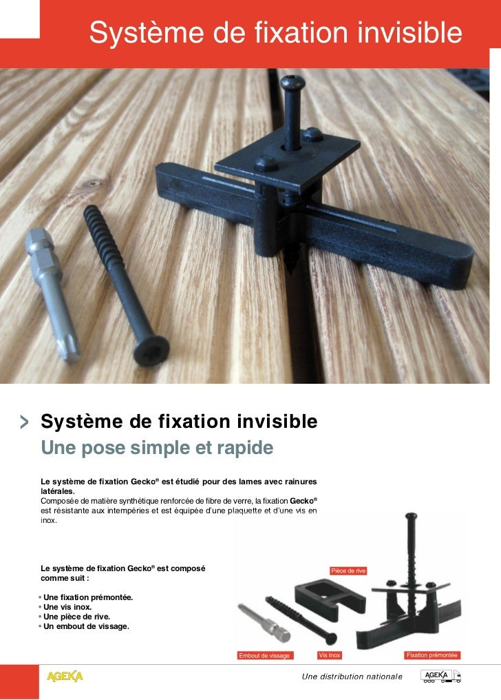 Système de fixation invisibleUne pose simple et rapideLe système de fixation Gecko® est étudié pour des lames avec rainure...