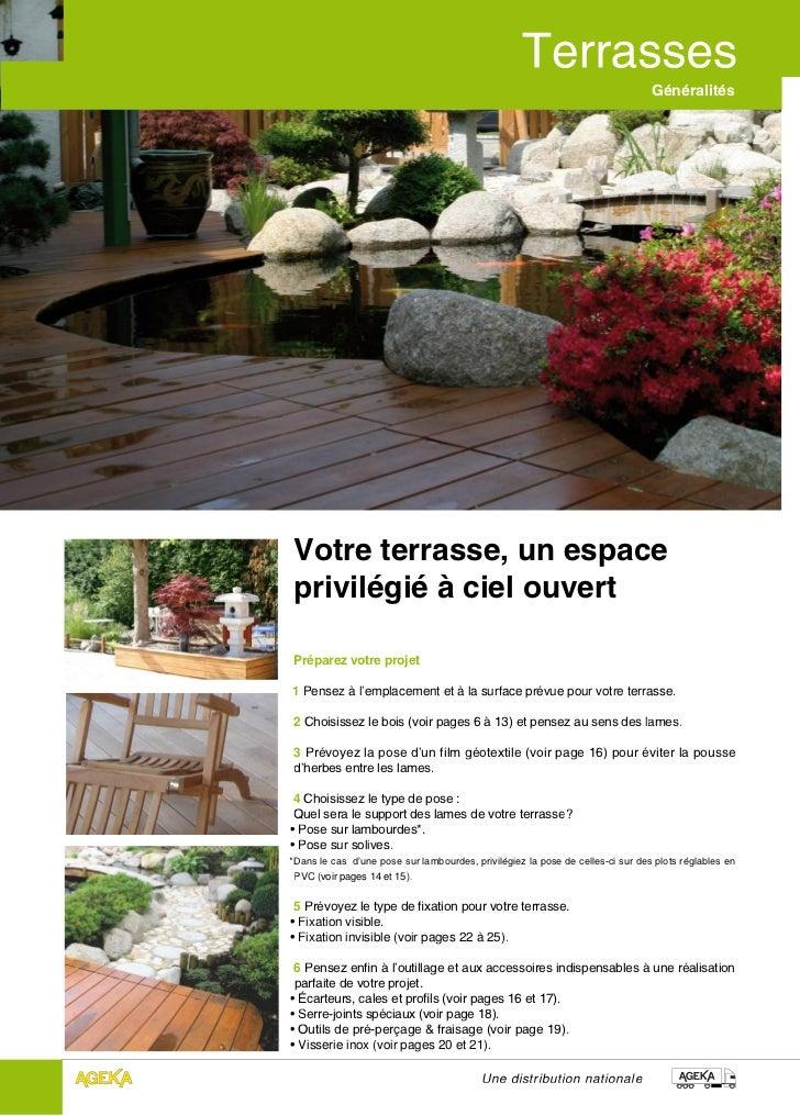GénéralitésVotre terrasse, un espaceprivilégié à ciel ouvertPréparez votre projet1 Pensez à l'emplacement et à la surface ...