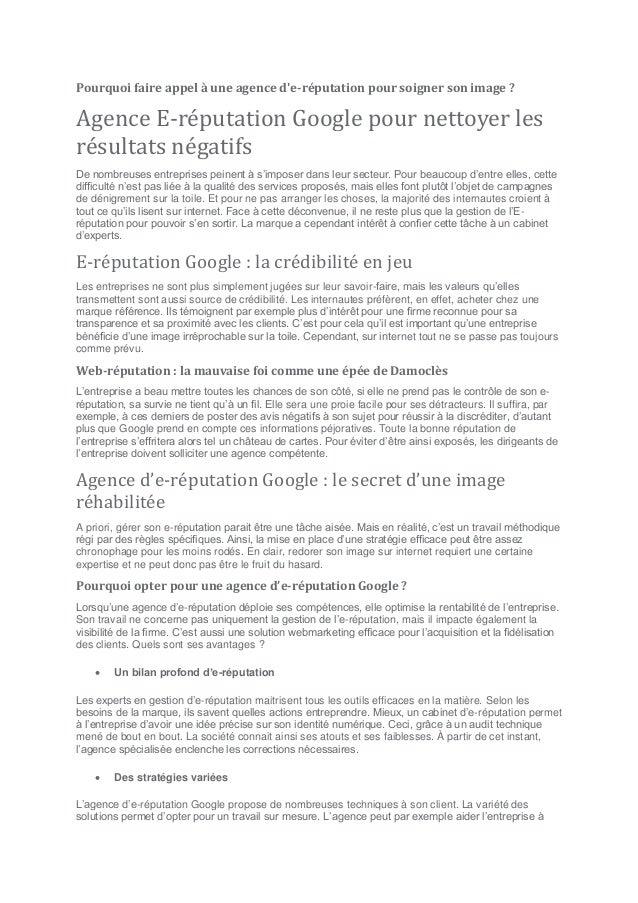 Pourquoi faire appel à une agence d'e-réputation pour soigner son image ? Agence E-réputation Google pour nettoyer les rés...