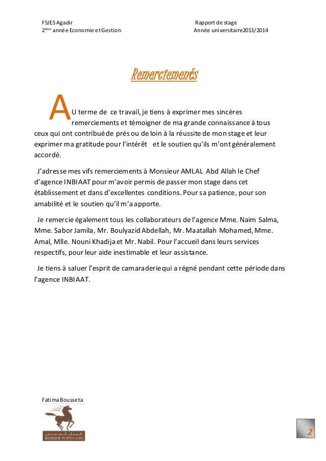 Rapport du stage Agence Inbiaat Agadir Banque Populaire