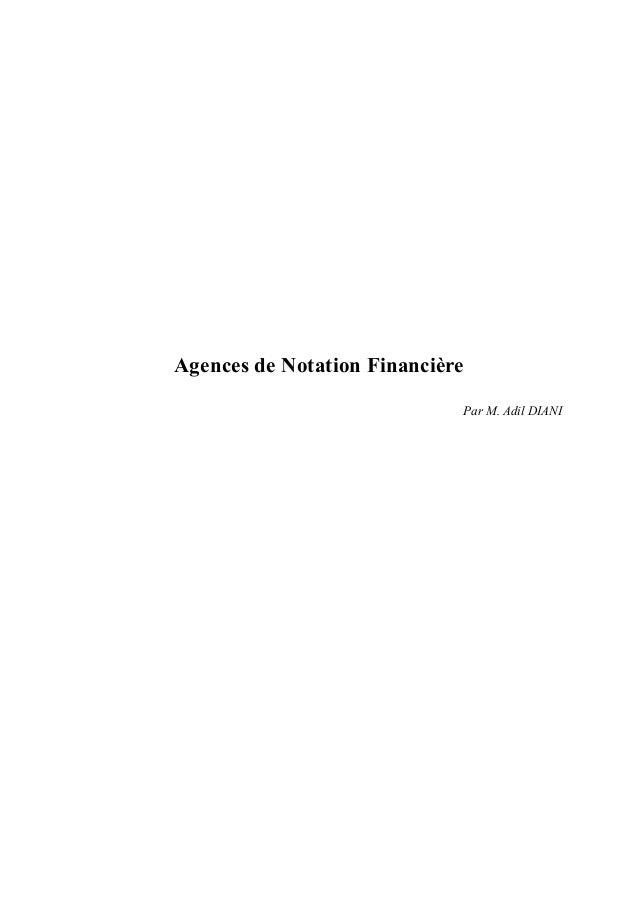 Agences de Notation Financière Par M. Adil DIANI