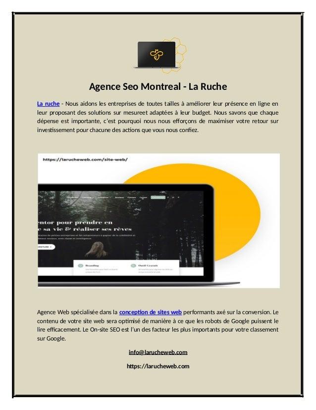 Agence Seo Montreal - La Ruche La ruche - Nous aidons les entreprises de toutes tailles à améliorer leur présence en ligne...