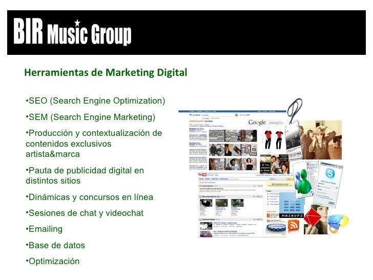<ul><li>Herramientas de Marketing Digital </li></ul><ul><li>SEO (Search Engine Optimization) </li></ul><ul><li>SEM (Search...