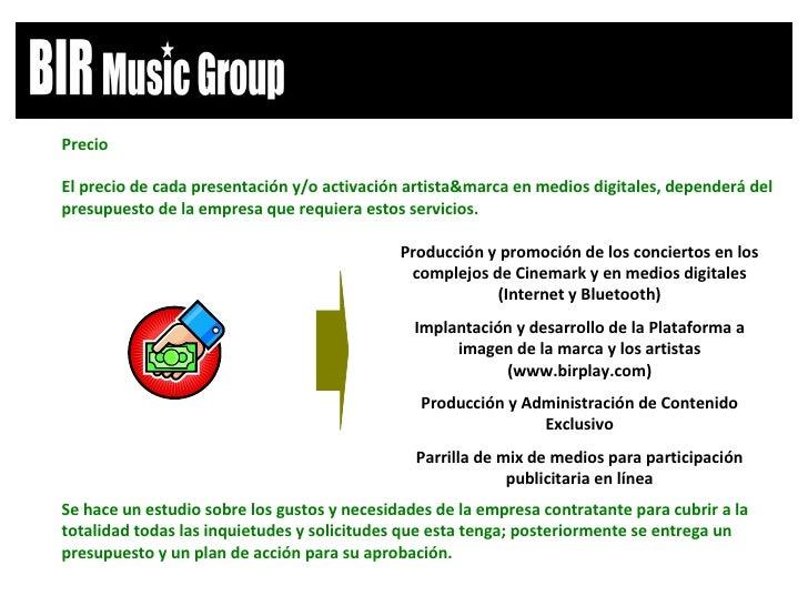 Producción y promoción de los conciertos en los complejos de Cinemark y en medios digitales (Internet y Bluetooth) Implant...