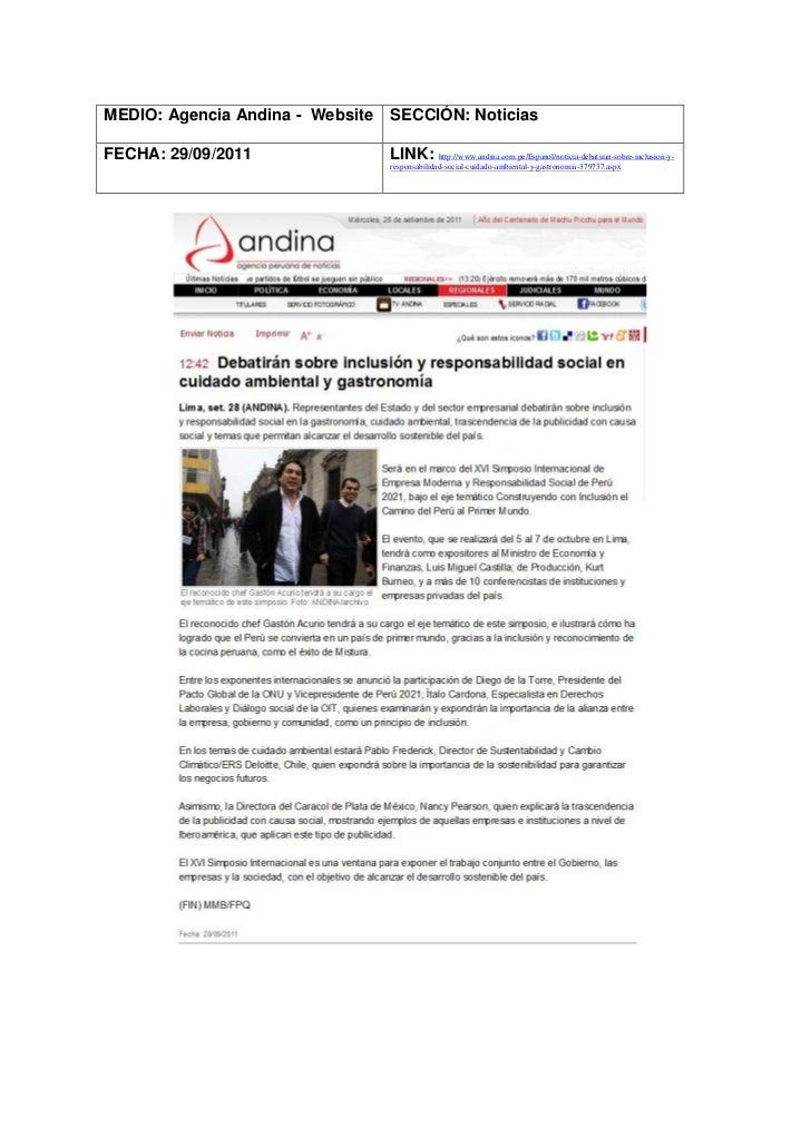 MEDIO: Agencia Andina - Website   SECCIÓN: NoticiasFECHA: 29/09/2011                 LINK: http://www.andina.com.pe/Espano...