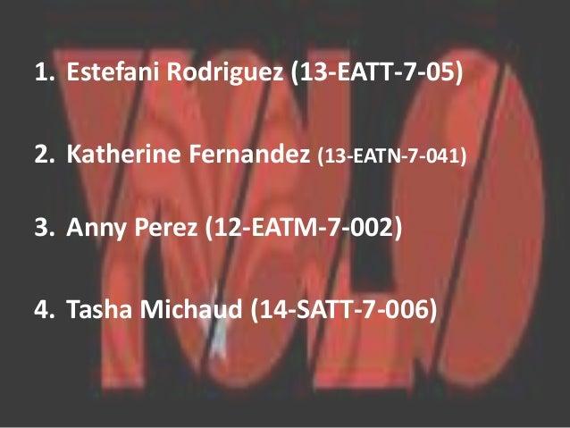 1. Estefani Rodriguez (13-EATT-7-05)  2. Katherine Fernandez (13-EATN-7-041)  3. Anny Perez (12-EATM-7-002)  4. Tasha Mich...