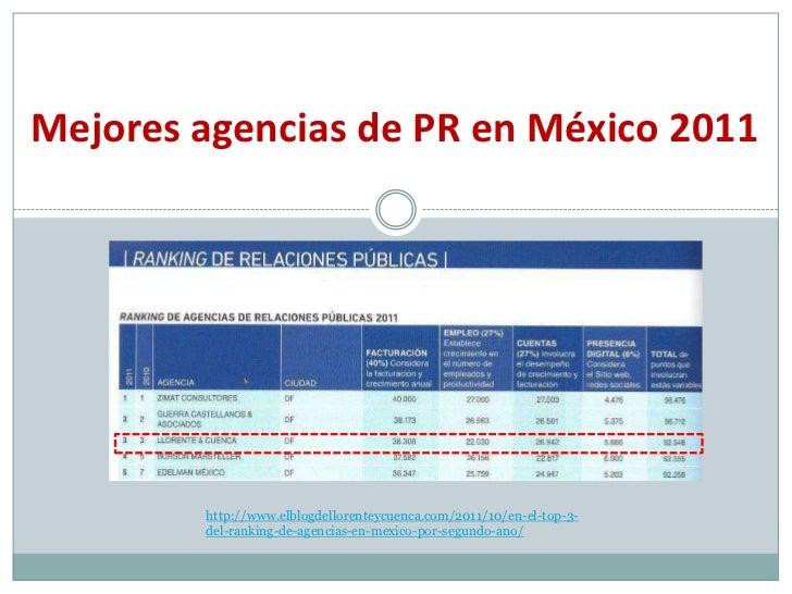 Mejores agencias de PR en México 2011        http://www.elblogdellorenteycuenca.com/2011/10/en-el-top-3-        del-rankin...