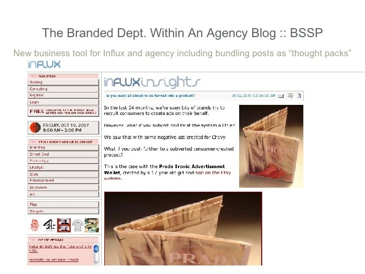 """The Branded Dept. Within An Agency Blog :: BSSP New business tool for Influx and agency including bundling posts as """"thoug..."""