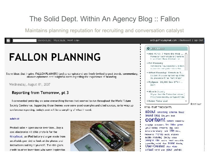 The Solid Dept. Within An Agency Blog :: Fallon Maintains planning reputation for recruiting and conversation catalyst