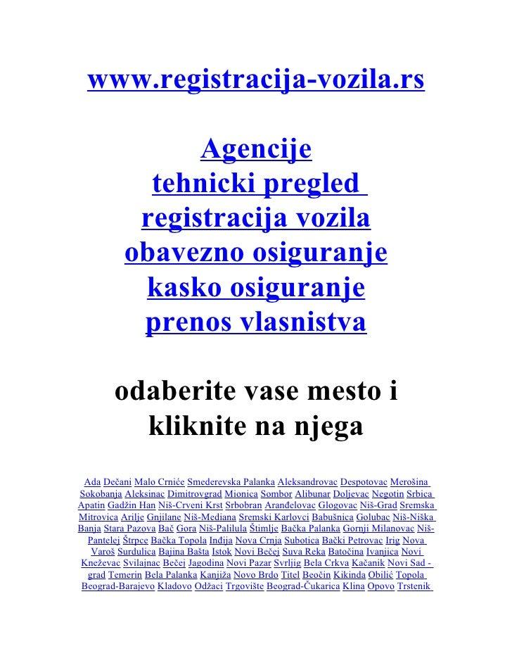 www.registracija-vozila.rs                  Agencije             tehnicki pregled            registracija vozila          ...