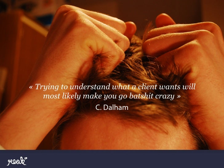 « Trying to understand what a client wants will    most likely make you go batshit crazy »                   C. Dalham