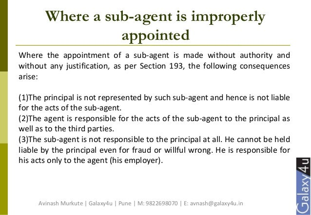 sub agent indian contract act