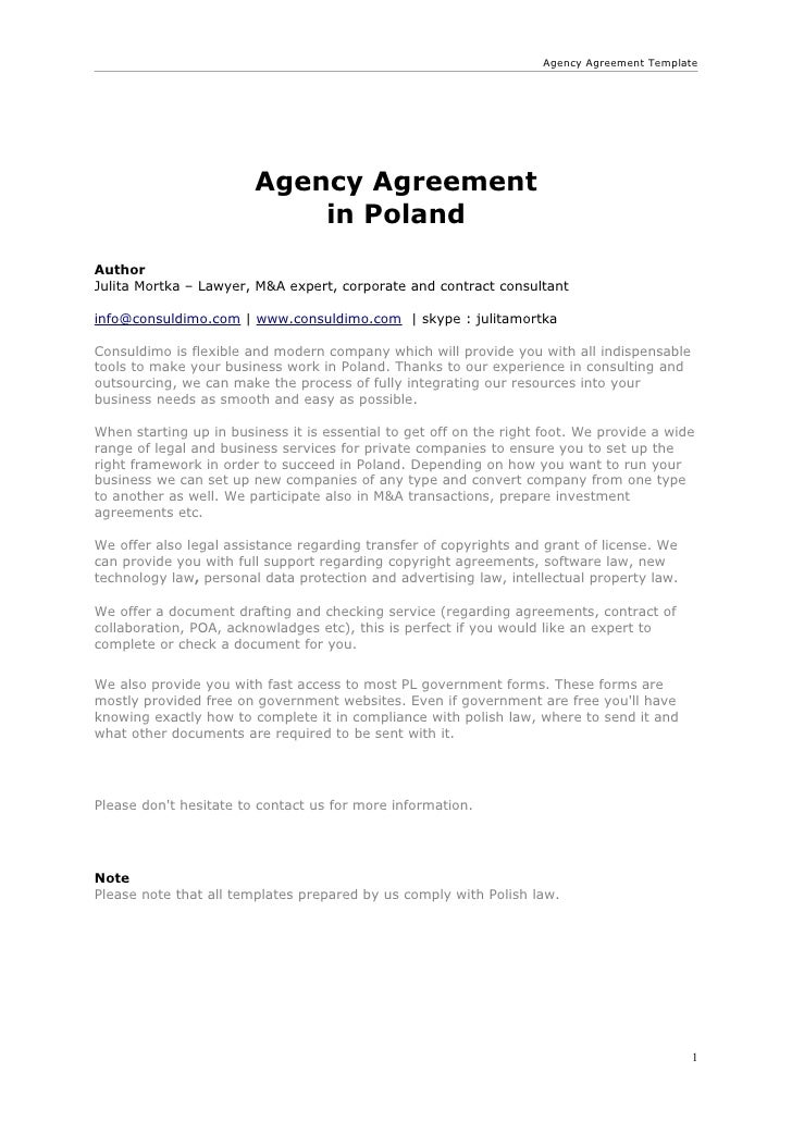 Agency Agreement Template Agency Agreement ...