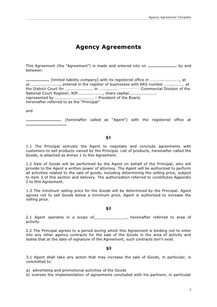 Agency agreement for Templating agent
