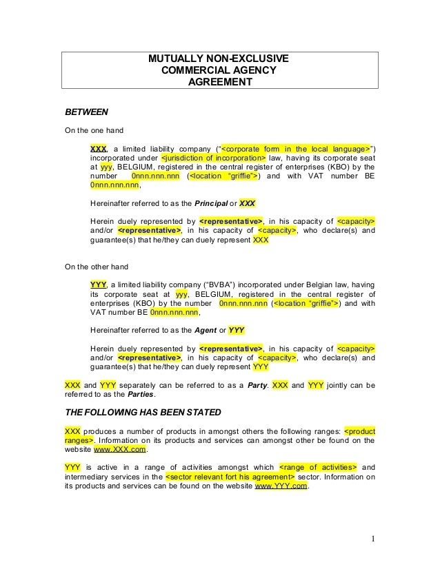 Agency Agreement - Example Template