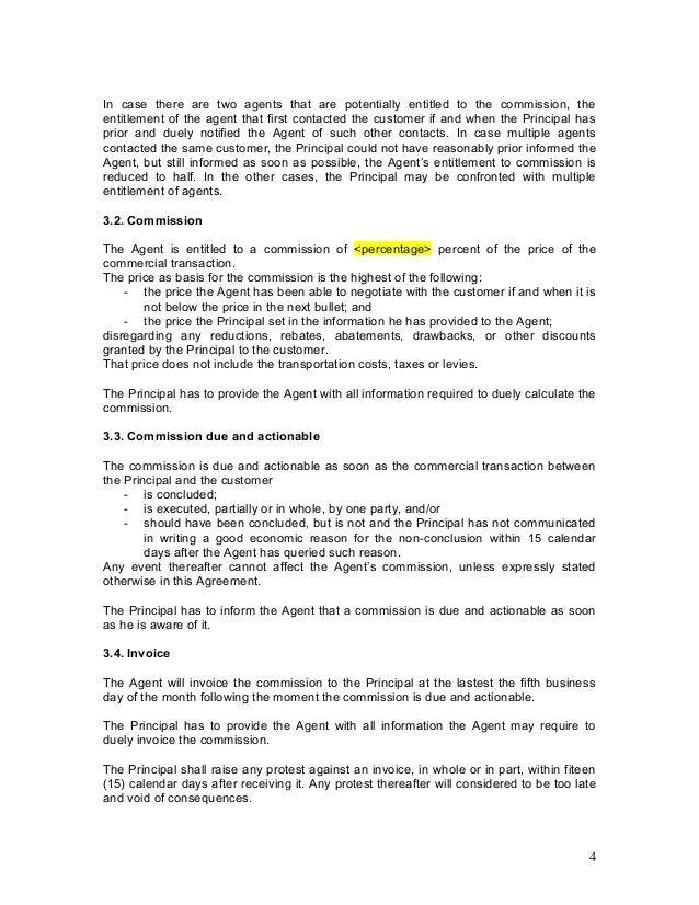 Agency agreement example template for Commission sharing agreement template