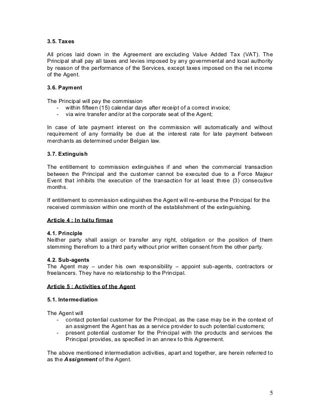 Agency agreement example template for Transfer pricing agreement template
