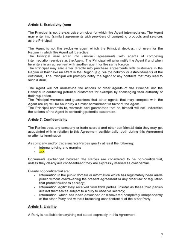 Agency agreement example template – Trade Contract Template