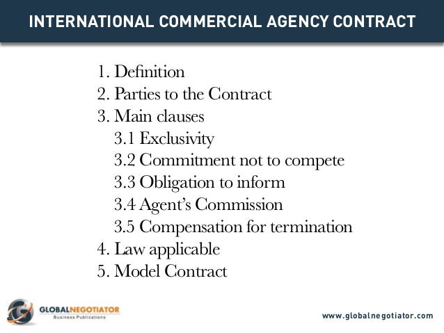 INTERNATIONAL COMMERCIAL AGENCY CONTRACT 1. Definition 2. Parties To The  Contract 3.