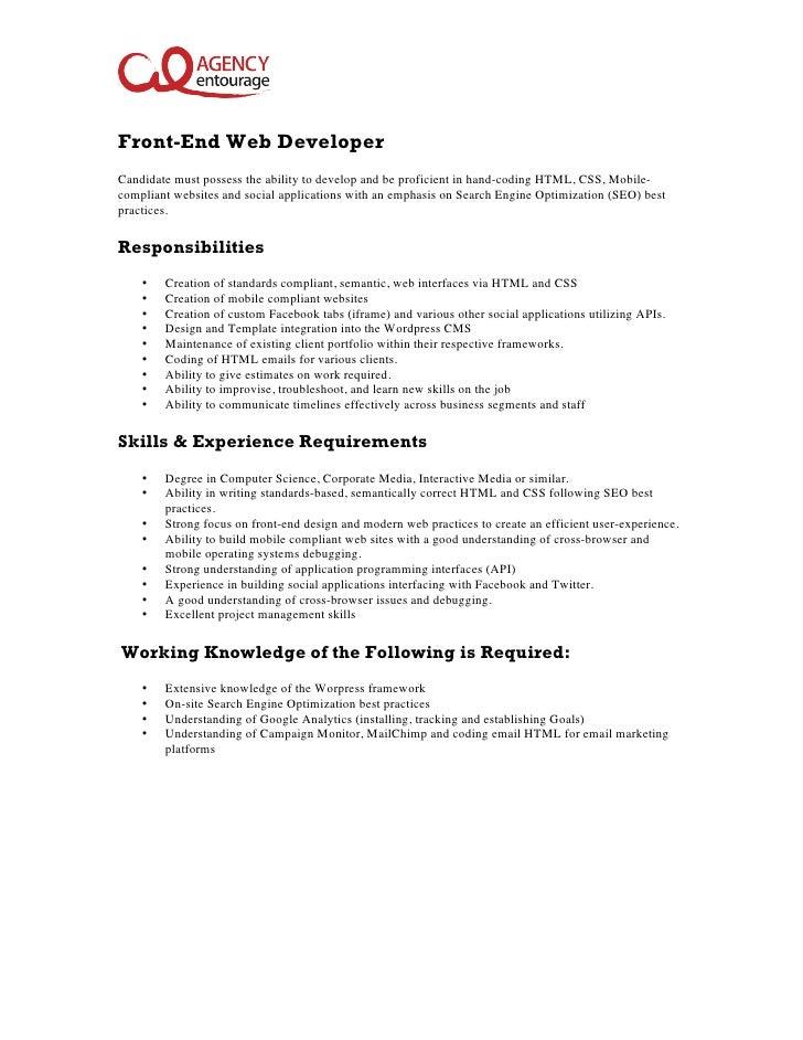 Java front end developer job description