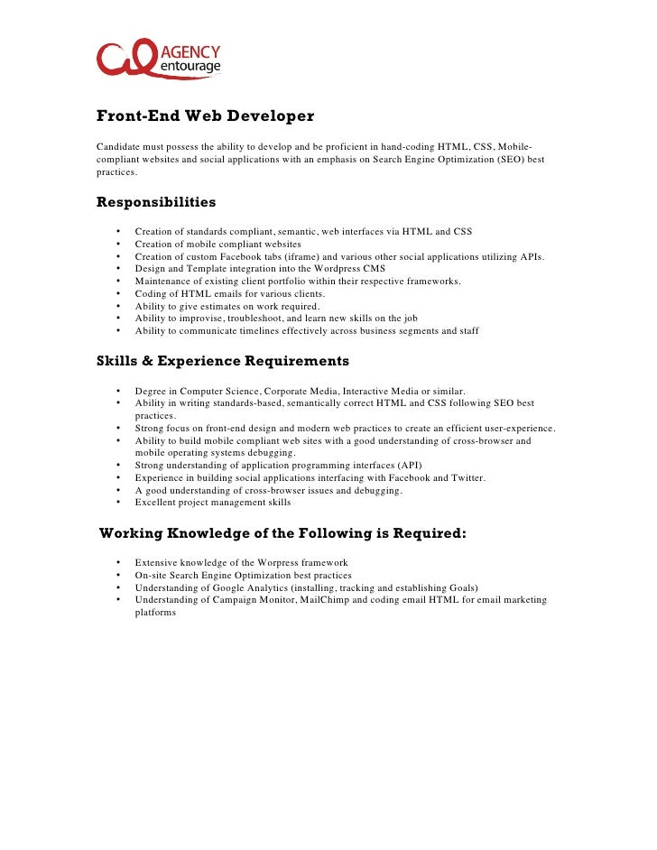 EntryLevel FrontEnd Web Developer Job Description