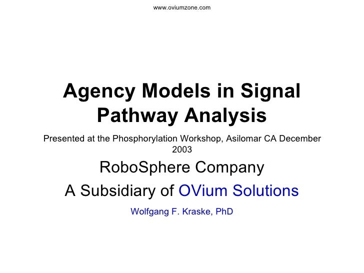 Agency Models in Signal Pathway Analysis RoboSphere Company A Subsidiary of  OVium Solutions Wolfgang F. Kraske, PhD Prese...
