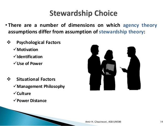 a definition of the agency theory and the stewardship theory in business and their relation to amazo