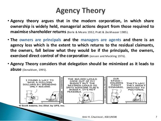 corporate governance agency theory essay Principles of corporate governance theoretical foundations of corporate governance agency theory stewardship theory stakeholder theory post-enron theories corporate governance: the changing trends recent developments on regulatory front and research corporate governance: relationship with market indicators venture capital model: impact on.
