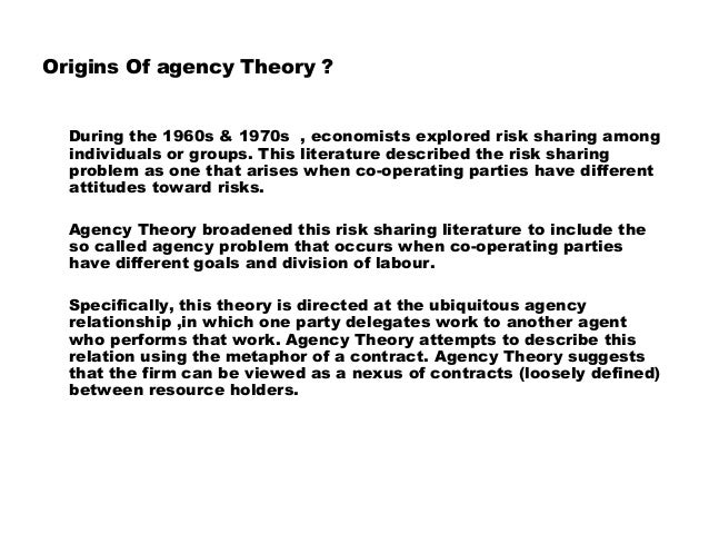 what is the agency theory An agency theory view of the management of end-user computing vijay gurbaxani graduate school of management university of california, irvine.