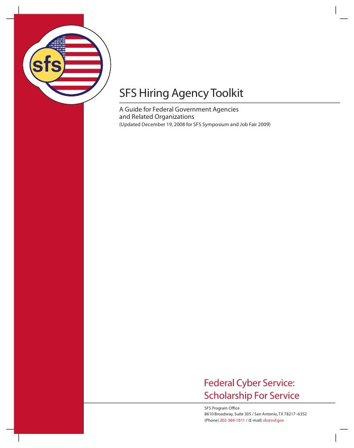 sfs       SFS Hiring Agency Toolkit       A Guide for Federal Government Agencies       and Related Organizations       (U...