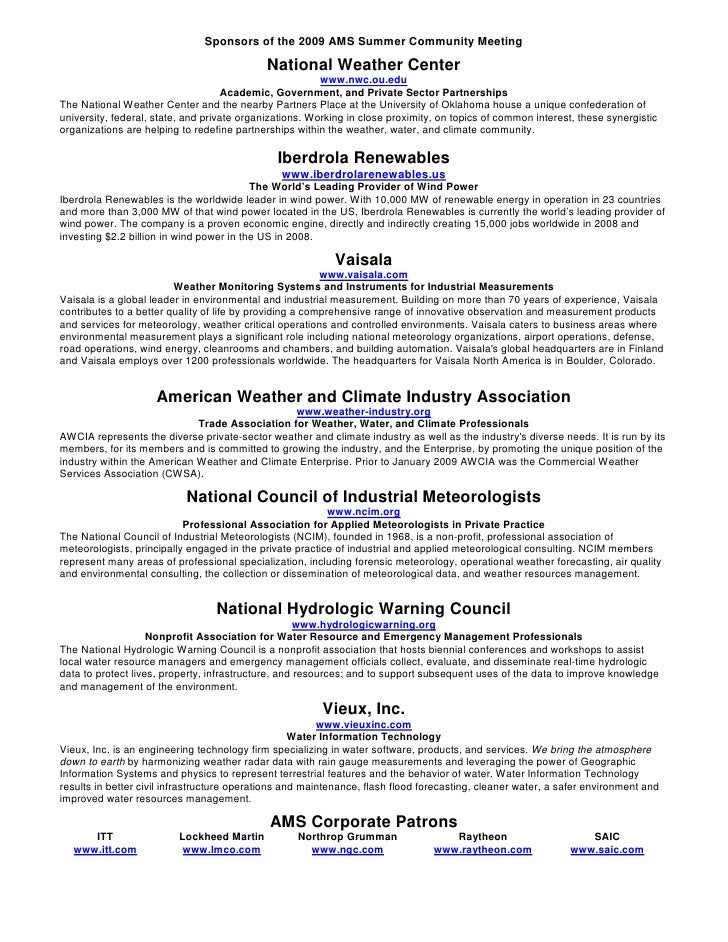 Sponsors of the 2009 AMS Summer Community Meeting                                               National Weather Center   ...